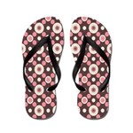 .::MoonDreams::. Pink Brown Circles Flip Flops