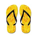 .::MoonDreams::. Yellow Orange Floral Flip Flops