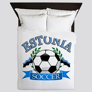 Estonia Soccer Designs Queen Duvet