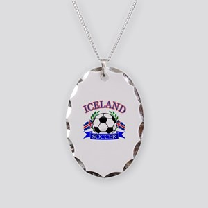 Iceland Soccer Designs Necklace Oval Charm