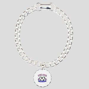 Iceland Soccer Designs Charm Bracelet, One Charm