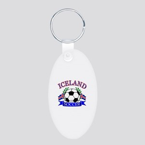Iceland Soccer Designs Aluminum Oval Keychain