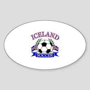 Iceland Soccer Designs Sticker (Oval)