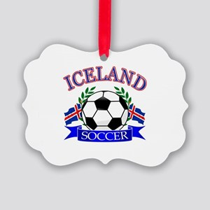 Iceland Soccer Designs Picture Ornament