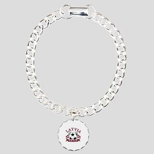 Latvia Soccer Designs Charm Bracelet, One Charm