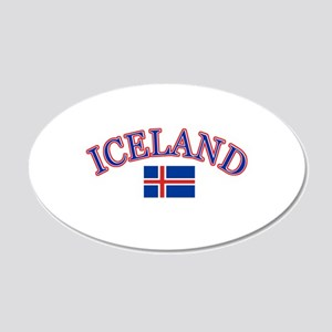 Iceland Soccer Designs 20x12 Oval Wall Decal
