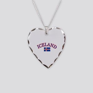 Iceland Soccer Designs Necklace Heart Charm