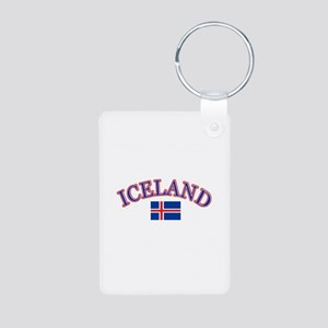 Iceland Soccer Designs Aluminum Photo Keychain