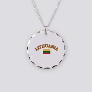 Lithuania Soccer Designs Necklace Circle Charm