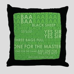 Baa baa green Throw Pillow