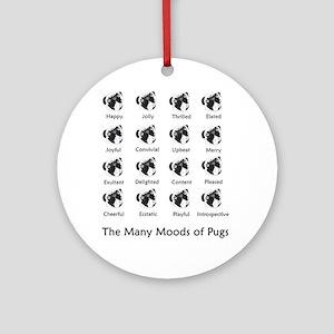 Pug Moods Ornament (Round)