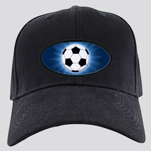 Soccer Ball Black Cap with Patch