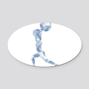 Watercolor Lift in Blue Oval Car Magnet