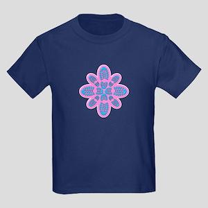 Pink and Blue Boot Floral Hiker Kids Dark T-Shirt