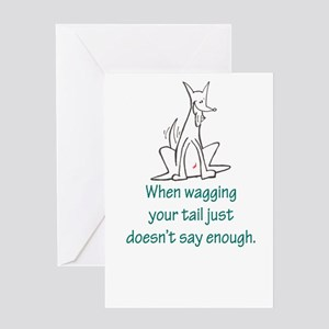 Tail Wag Red Rocket Greeting Card