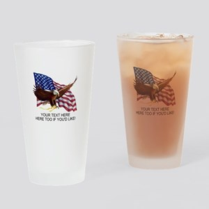 PERSONALIZED AMERICAN FLAG EAGLE SA Drinking Glass