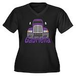 Trucker Gabriella Women's Plus Size V-Neck Dark T-