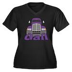Trucker Gail Women's Plus Size V-Neck Dark T-Shirt