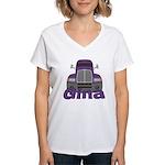 Trucker Gina Women's V-Neck T-Shirt