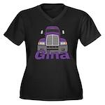 Trucker Gina Women's Plus Size V-Neck Dark T-Shirt
