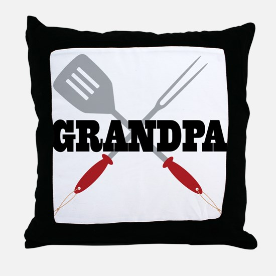 Grandpa BBQ Grilling Throw Pillow