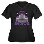 Trucker Grace Women's Plus Size V-Neck Dark T-Shir