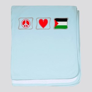Peace, Love and Palestine baby blanket