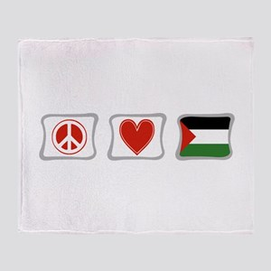 Peace, Love and Palestine Throw Blanket