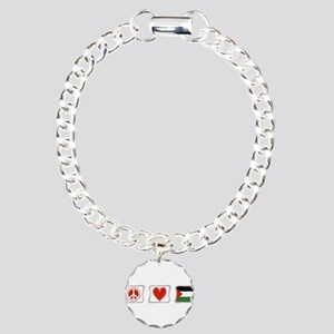 Peace, Love and Palestine Charm Bracelet, One Char
