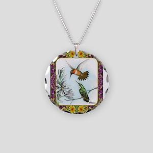 Rufous Hummingbirds Necklace Circle Charm
