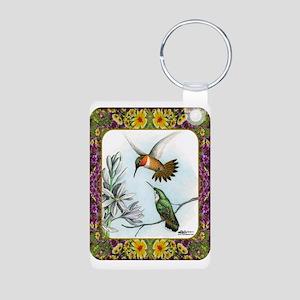 Rufous Hummingbirds Aluminum Photo Keychain