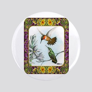 "Rufous Hummingbirds 3.5"" Button"