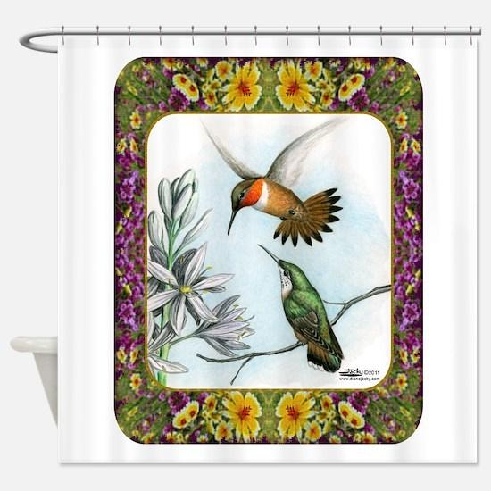 Rufous Hummingbirds Shower Curtain
