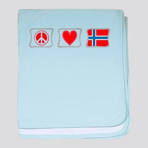 Peace, Love and Norway baby blanket