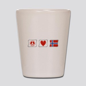 Peace, Love and Norway Shot Glass