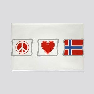 Peace, Love and Norway Rectangle Magnet