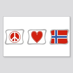Peace, Love and Norway Sticker (Rectangle)
