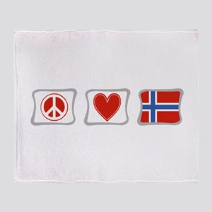 Peace, Love and Norway Throw Blanket