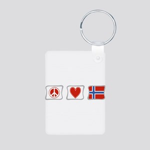 Peace, Love and Norway Aluminum Photo Keychain
