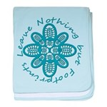 Leave Nothing Boot Print Blue baby blanket