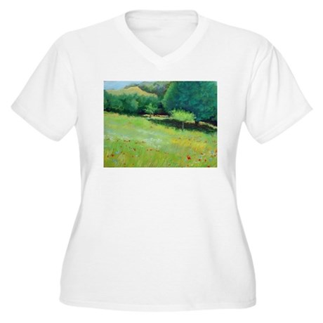 Giverny Poppies Women's Plus Size V-Neck T-Shirt