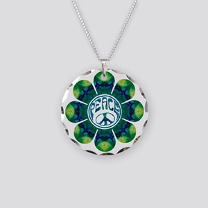 peace flower meditation Necklace Circle Charm