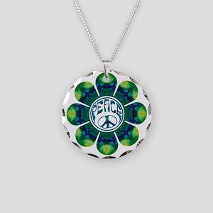 peace flower meditation Necklace Circle Charm