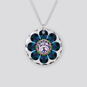 peace flower festival Necklace Circle Charm