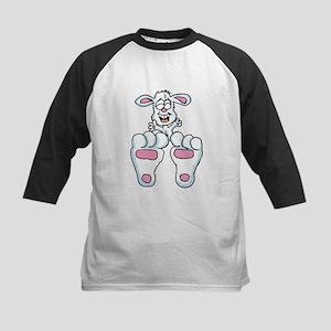 Cute Laughing Bunny Kids Baseball Jersey