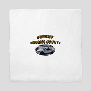 Tehama County Sheriff Car Queen Duvet