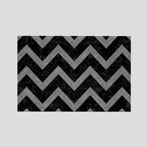 CHEVRON9 BLACK MARBLE & GRAY COLO Rectangle Magnet