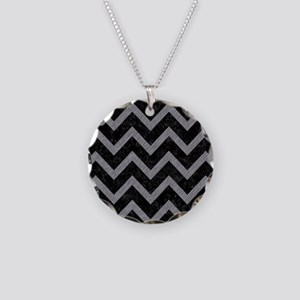 CHEVRON9 BLACK MARBLE & GRAY Necklace Circle Charm