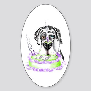 Dane Birthday Harlequin UC Oval Sticker