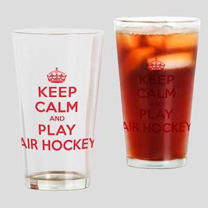 Keep Calm Play Air Hockey Drinking Glass